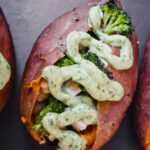 Stuffed Sweet Potatoes with Avocado Green Goddess Dressing