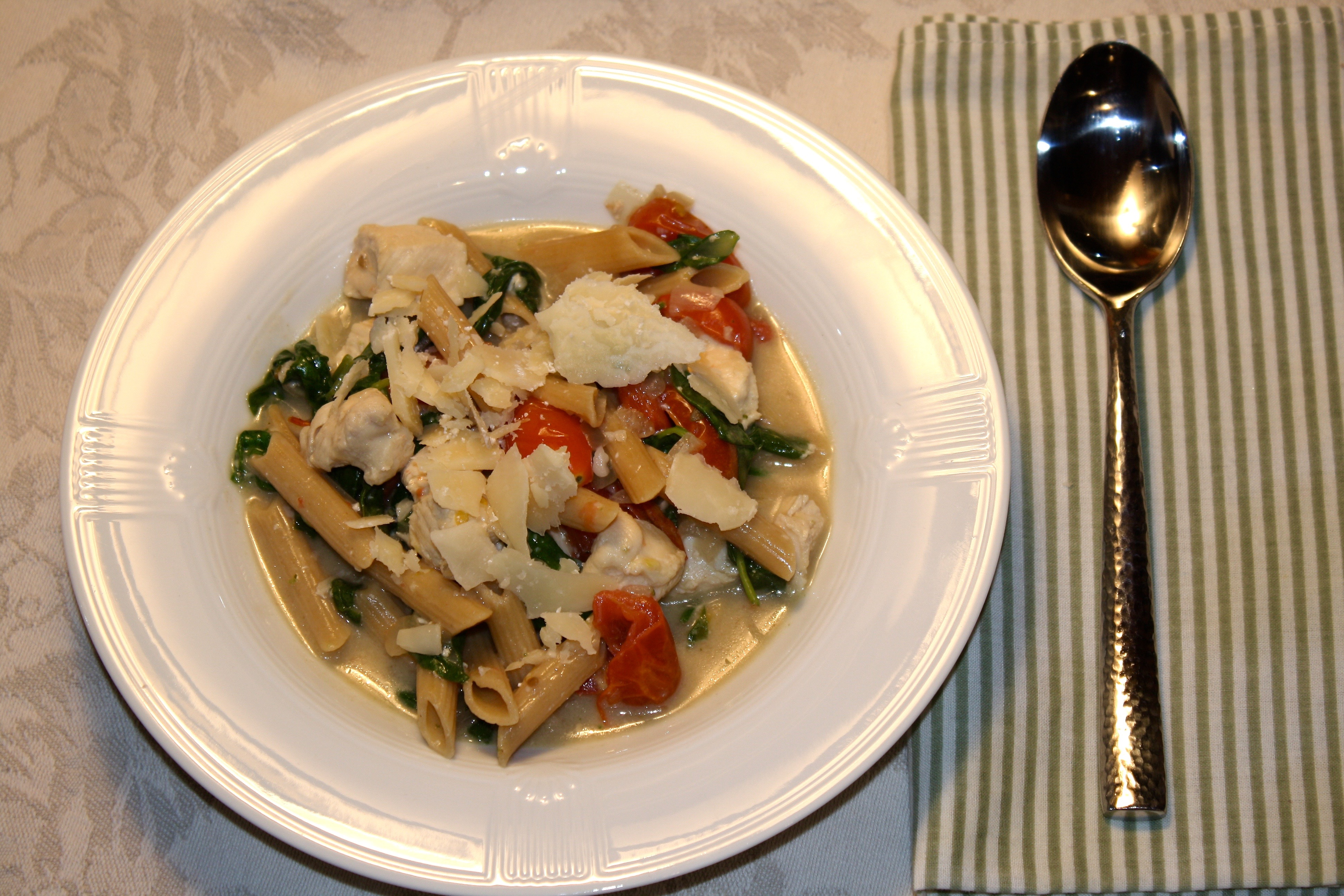 Chicken Florentine Pasta for One | Zestful Kitchen