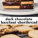 two photos of chocolate-dipped shortbread in a collage with recipe text overlay