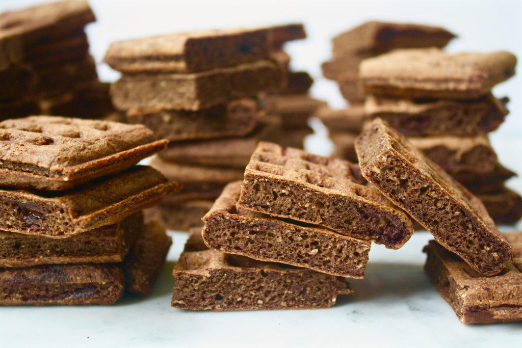 Dark Chocolate Waffle Bites with Vanilla Bean Drizzle | Zestful Kitchen