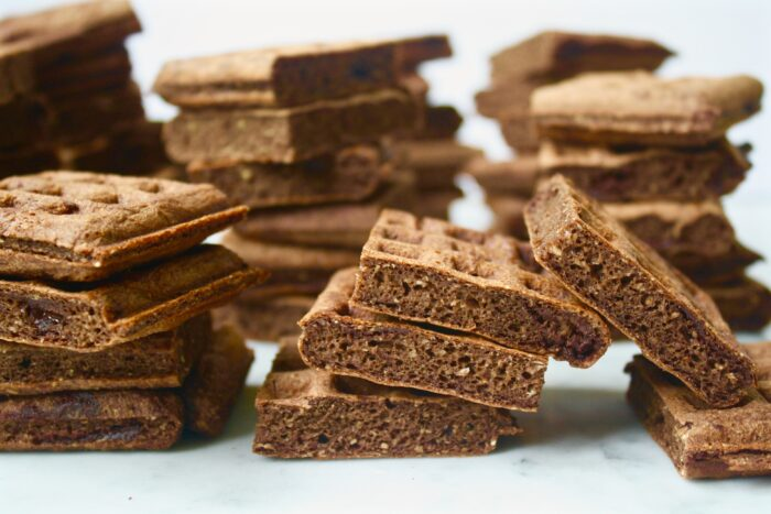 Dark Chocolate Waffle Bites with Vanilla Bean Drizzle   Zestful Kitchen