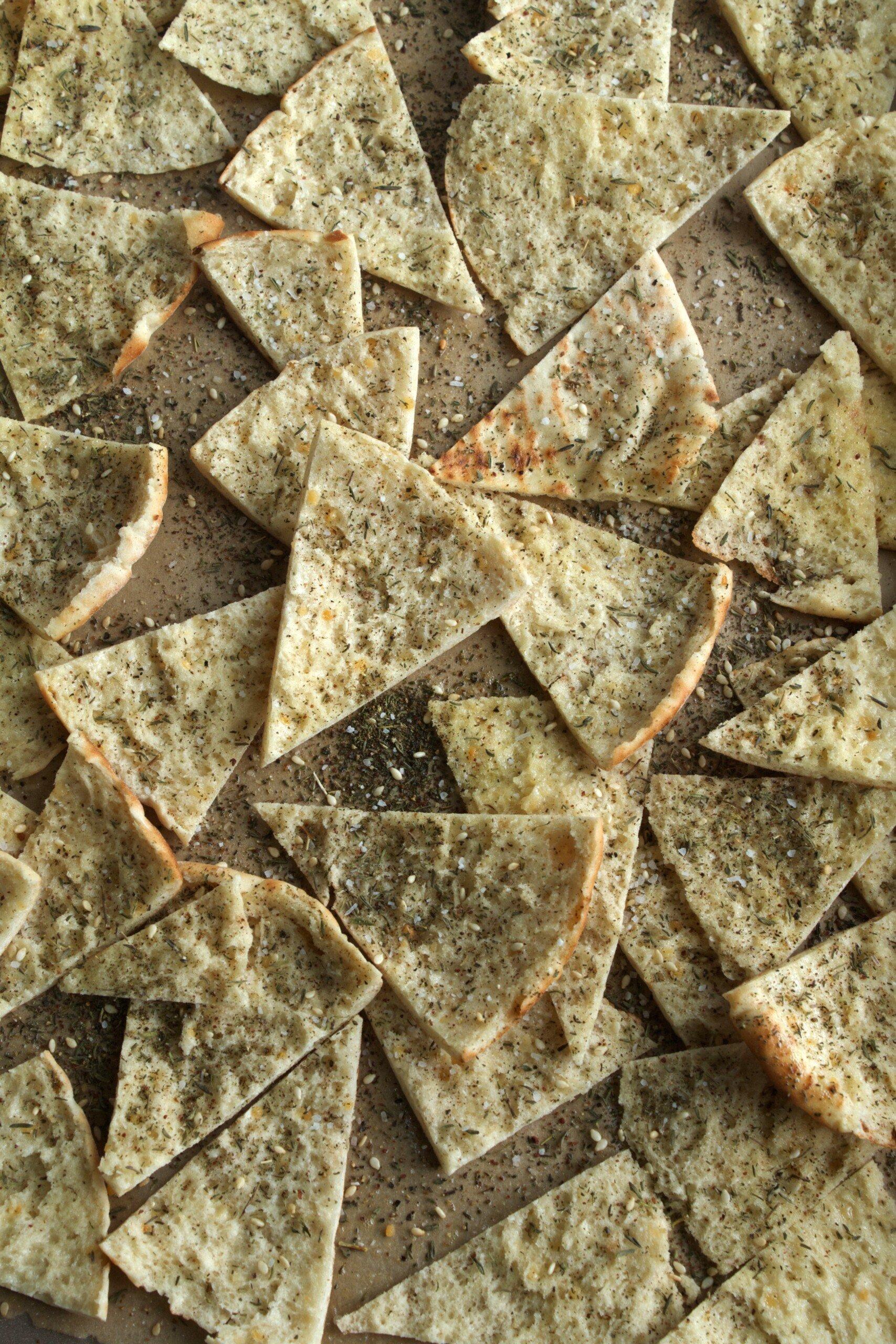 Pita wedges on a baking sheet