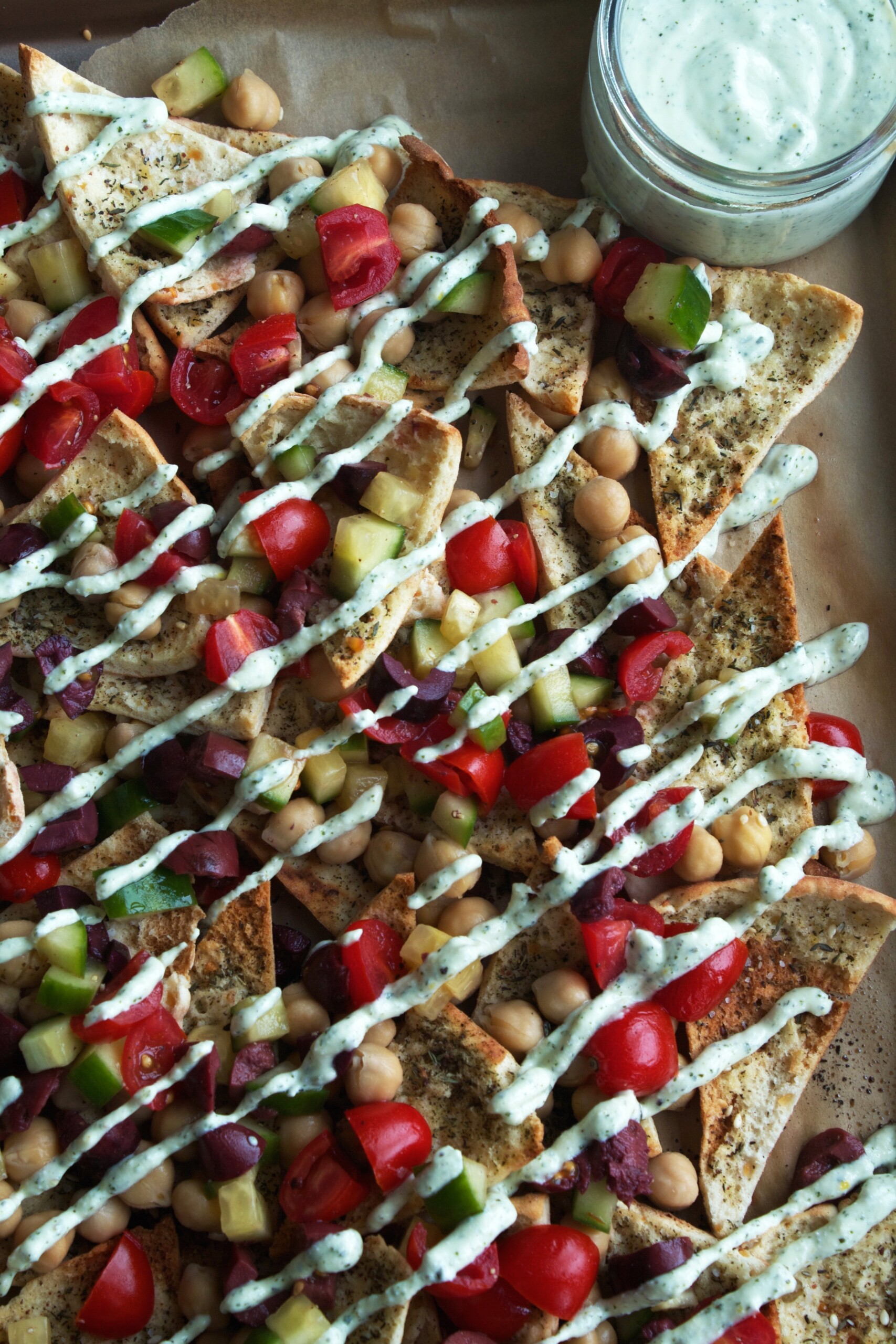 Greek Nachos with Feta-Yogurt Sauce | Zestful Kitchen