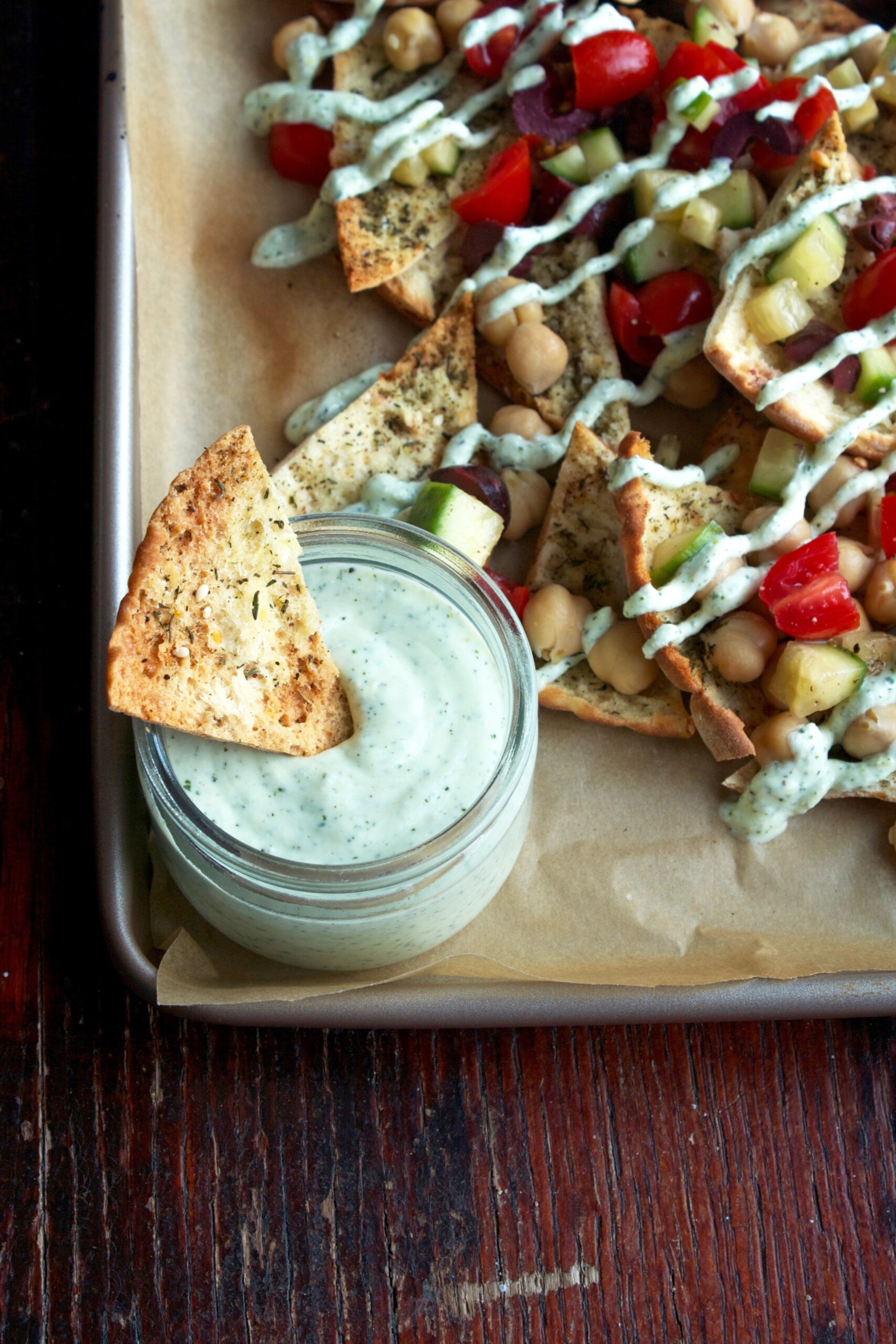 Greek Nachos with Feta-Yogurt Sauce | Zestful Kitchen