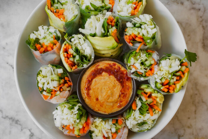 Vietnamese Spring Rolls with Almond Dipping Sauce | from Lauren Grant of Zestful Kitchen