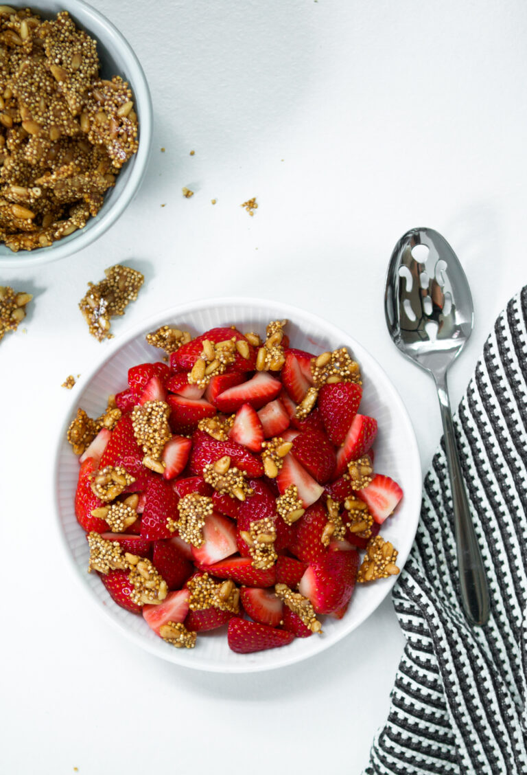 Strawberry & Pine Nut Brittle Salad | Zestful Kitchen
