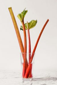Photograph of stalks of rhubarb in a glass with water and a produce bag covering it.