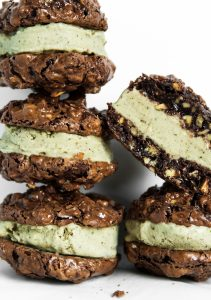 Photograph of gluten free ice cream sandwiches stacked on top of eachother