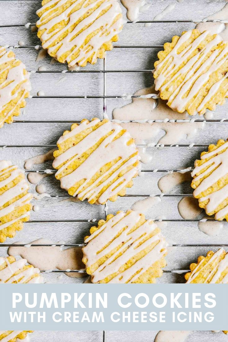 Pinterest graphic of iced pumpkin cookies