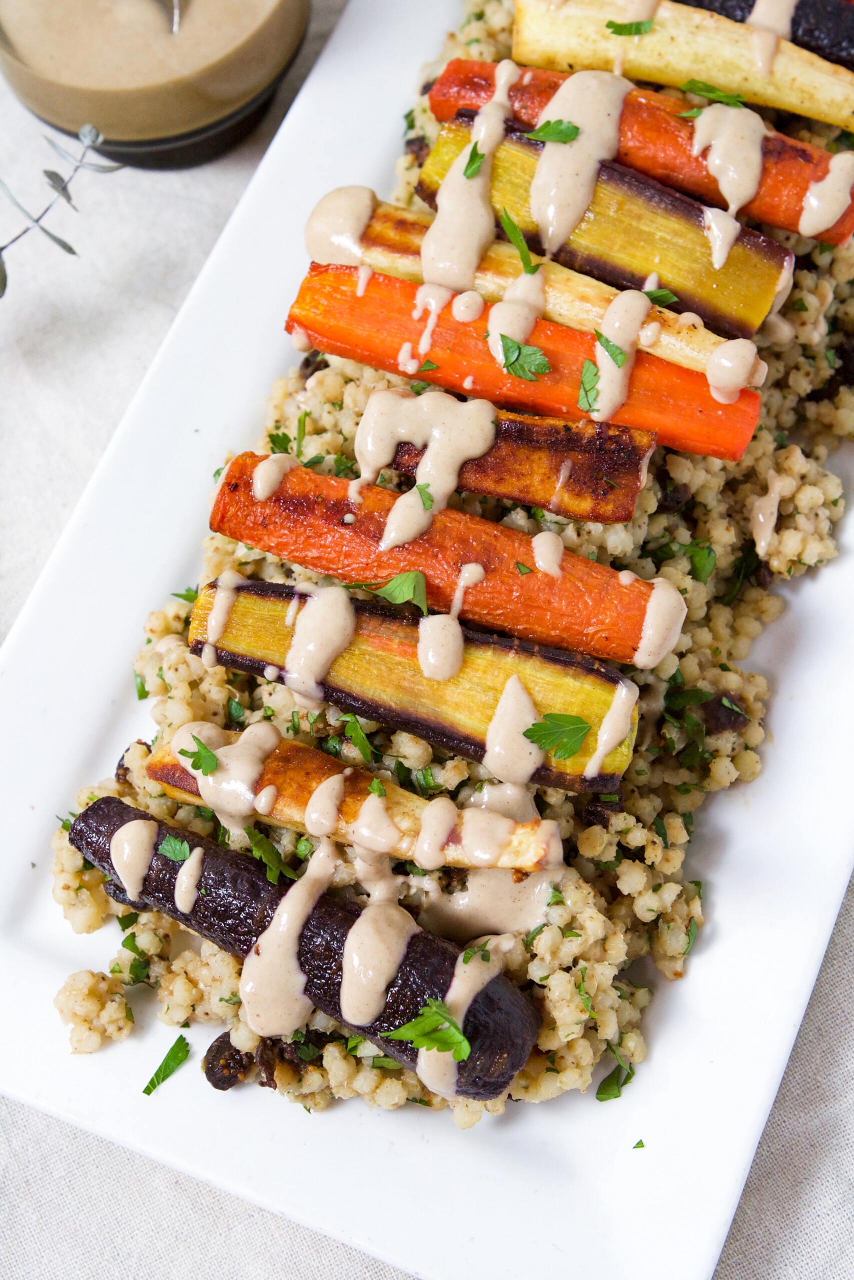 Roasted Root Vegetables & Sorghum Pilaf with Tahini Sauce | Zestful Kitchen