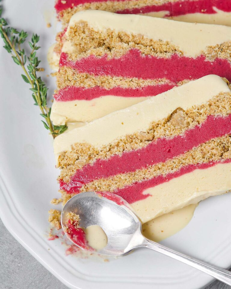 Overhead photograph of layered ice cream cake with cranberry curd