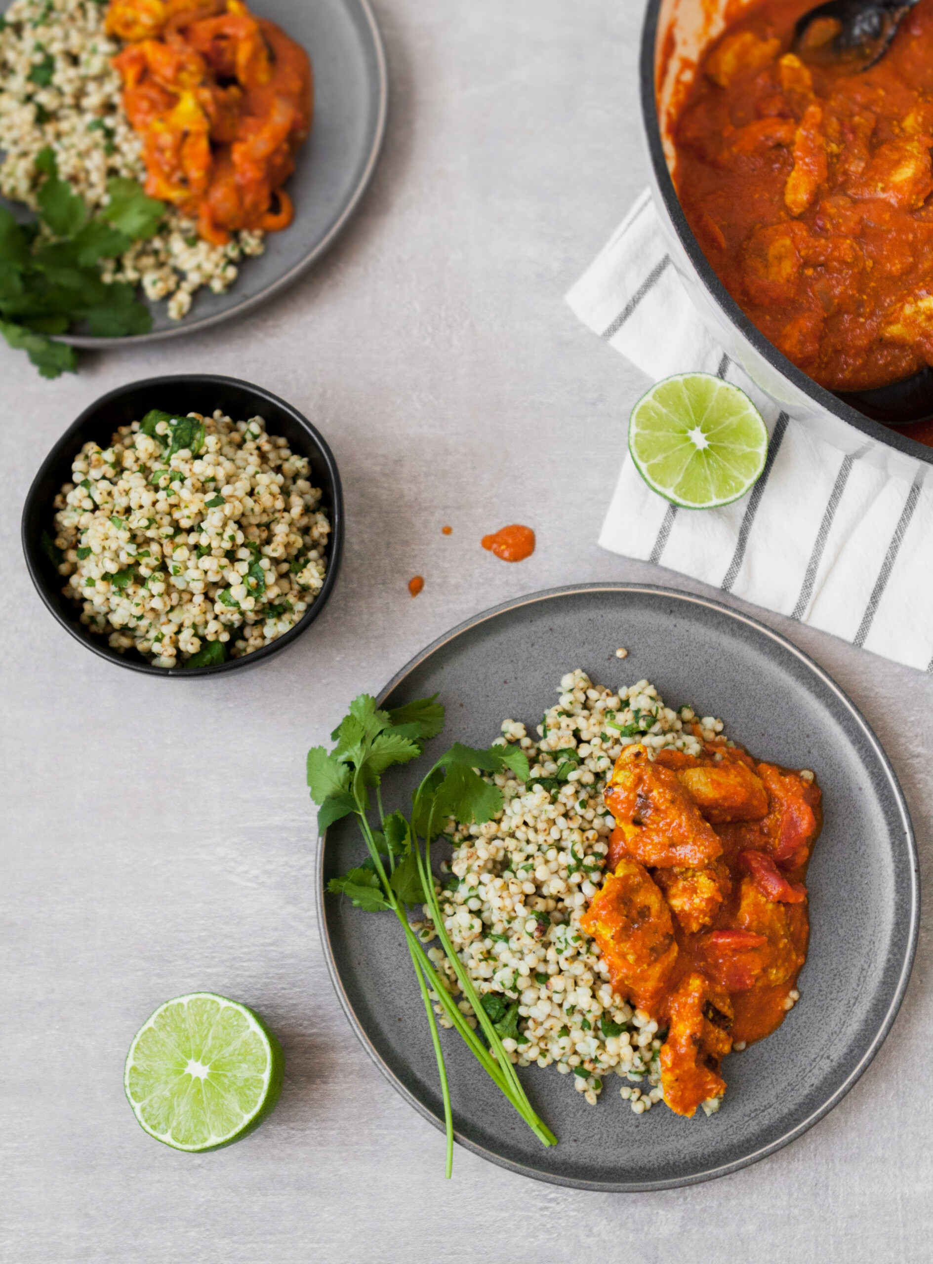 This Lightened Chicken Tikka Masala is full-flavored, healthy, and even a great make ahead meal. Atop a bed of cilantro-lime sorghum, this is classic, yet reinvented.  | from Lauren Grant of Zestful Kitchen