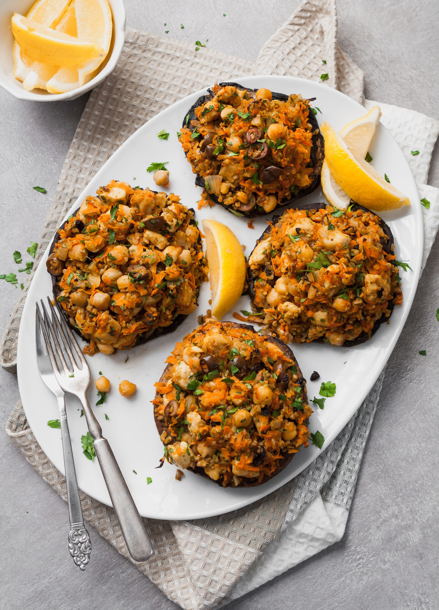 Packed with bold flavors and textures, these Moroccan Stuffed Portobellos with carrots, chickpeas, and ancient grains are not only healthy and satisfying, but easy to make and come together in under an hour!   from Lauren Grant of Zestful Kitchen