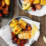 Roast Halibut with Red Potatoes, Corn, and Andouille