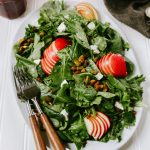 Autumn Kale Apple Salad with Goat Cheese & Pistachios