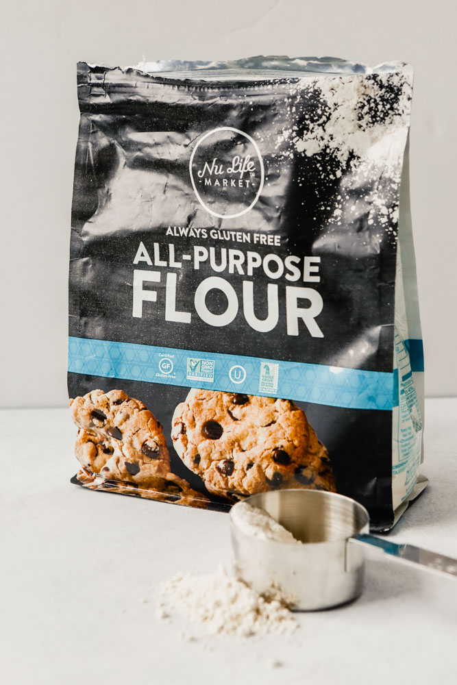 Photograph of NuLife Market Flour bag set on a white table