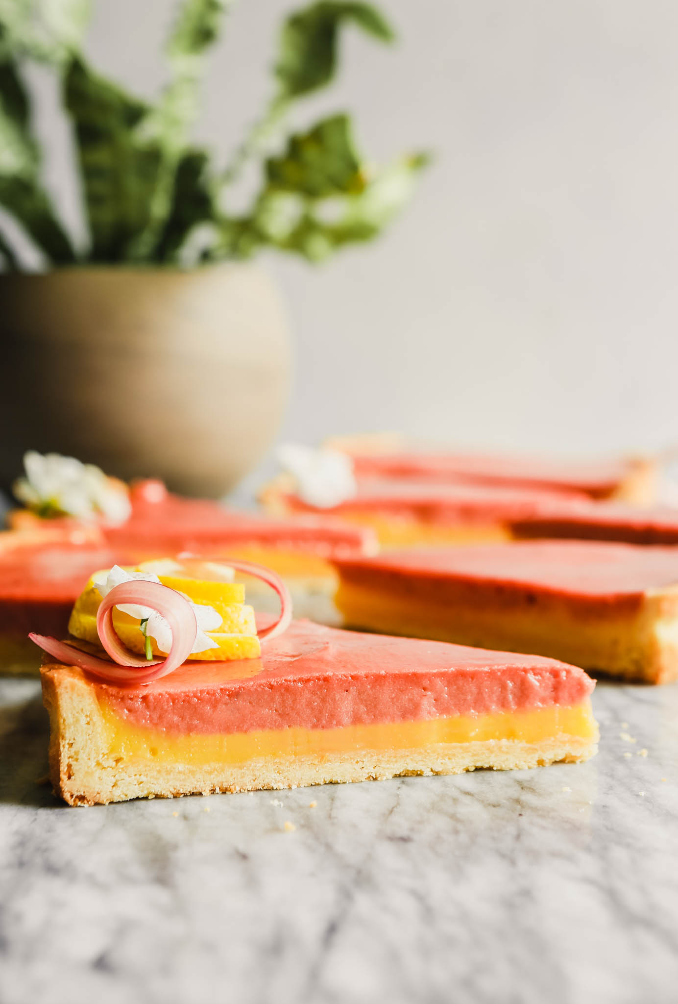 side angle photograph of wedges of layered rhubarb tart set on a marble table.