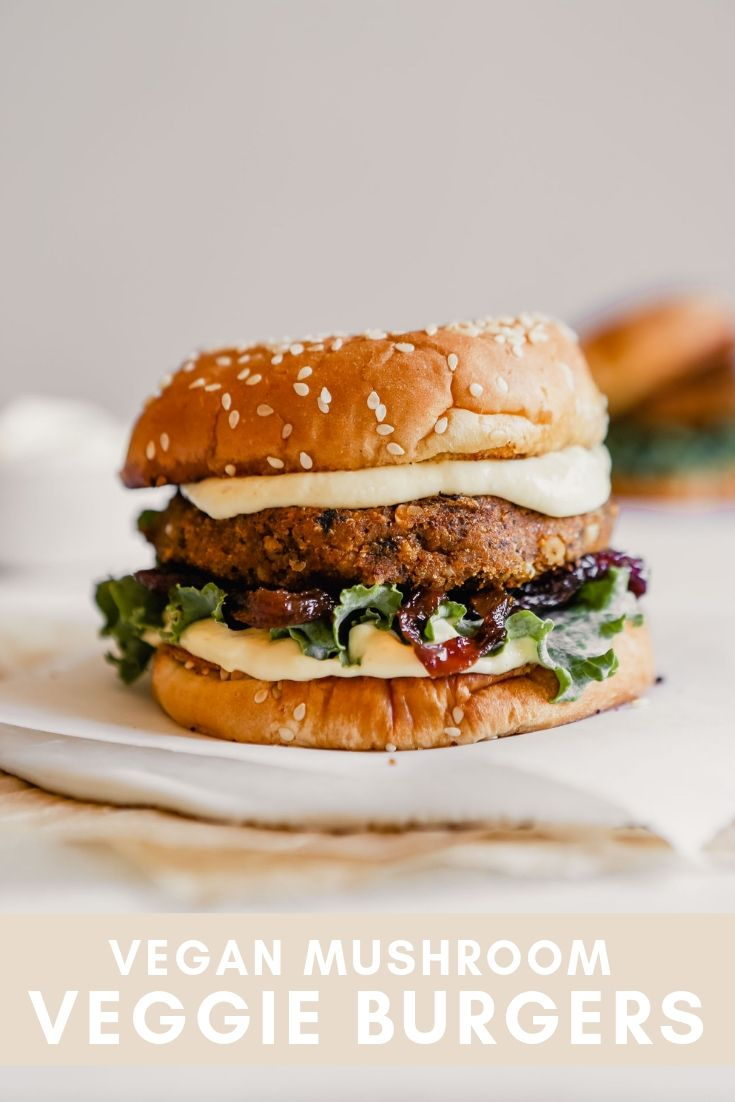 Vegan mushroom veggie burger pinterest graphic