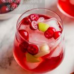 Overhead photograph of a fall sangria, featuring fresh cranberries and apple chunks, set on a marble platter with cinnamon sticks and more cranberries.