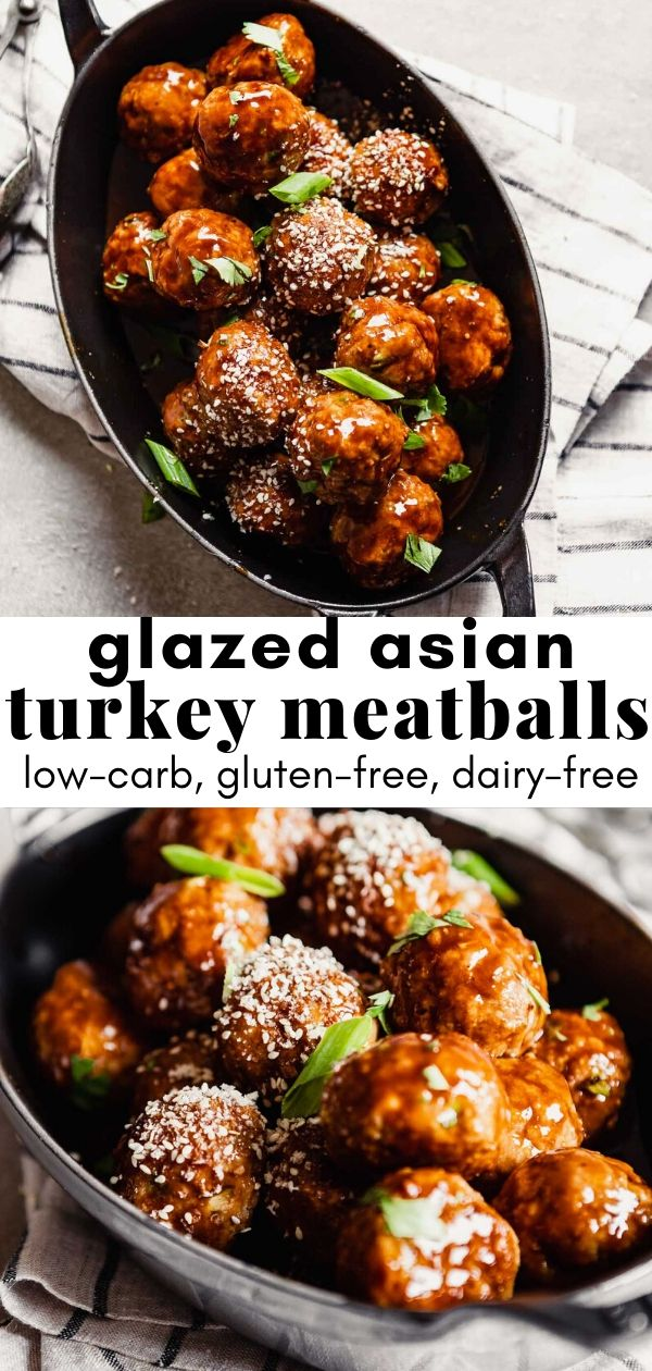 collage of asian turkey meatball images with recipe text overlay.