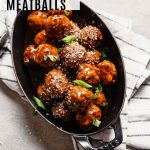 Overhead image of glazed asian turkey meatballs with recipe name overlay.
