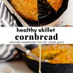 Side image of honey drizzling over cornbread with recipe title text overlay