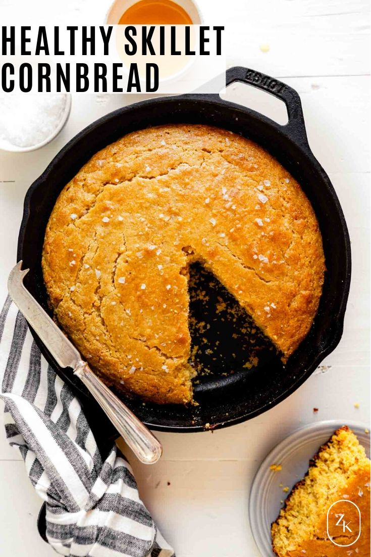 overhead image of skillet cornbread with recipe title text overlay