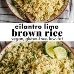 collage of cilantro lime brown rice photos