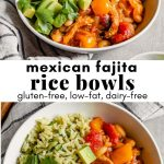 Collage of overhead images of a while bowl filled with brown rice, a saucy veggie mixture, diced avocado and lime wedges with text overlay