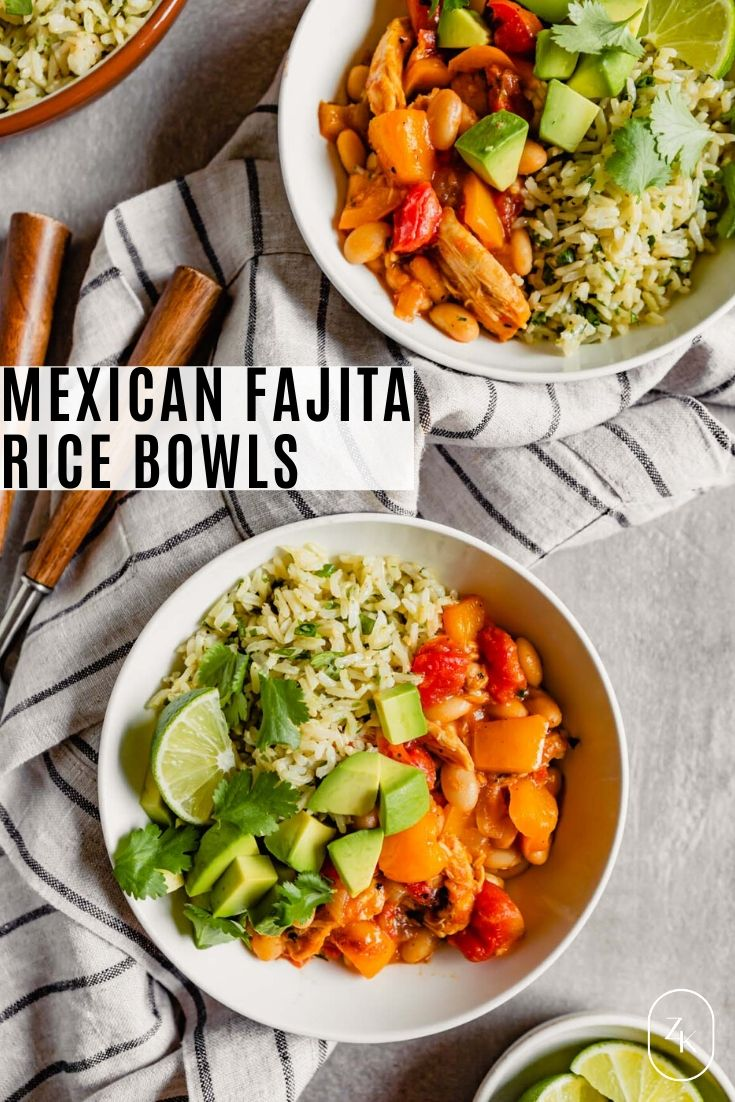 Overhead image of a while bowl filled with brown rice, a saucy veggie mixture, diced avocado and lime wedges with text overlay