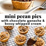 collage of photos of mini pecan pies with pinterest text overlay