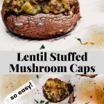 Collage of two images (on a side angle the bottom an overhead) of stuffed mushrooms on a piece of parchment paper