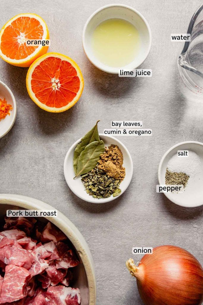 image of spices, orange halves, salt and pepper, lime juice, pork and an onion arranged on a gray table