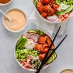 Salmon Poke Bowls with Orange-Sesame Sauce
