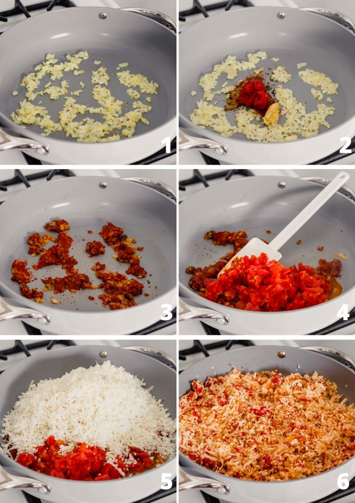 grid of images showing the process of cooking the rice