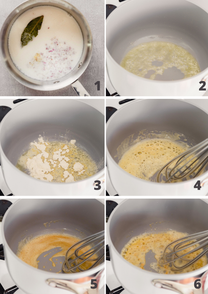 grid of step shot images showing the process of making lemon butter sauce