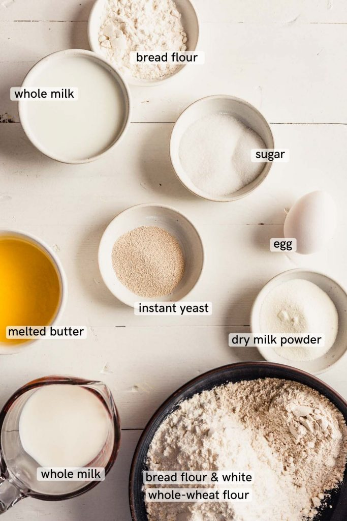 Overhead image of milk bread ingredients on a white table