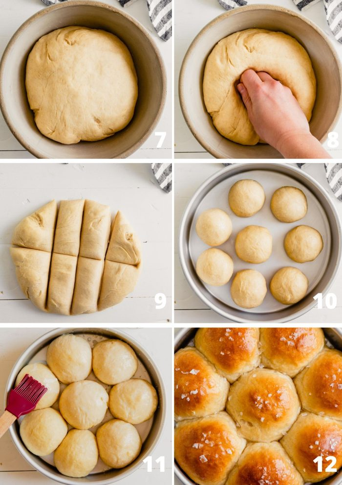 Gallery of images showing the steps to making milk bread rolls