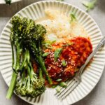 Gochujang Chicken with Broccolini & Crispy Rice