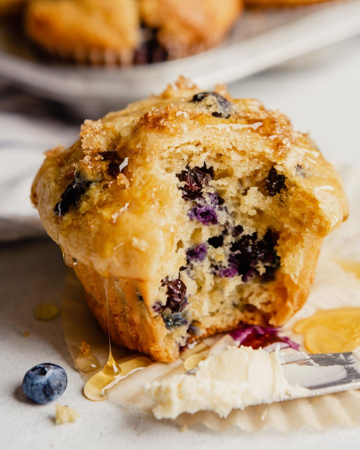 image of a blueberry muffin dropping with honey