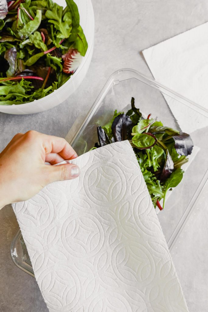 someone layering a paper towel over greens in a container