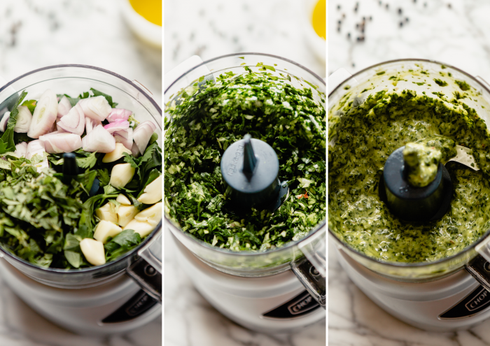 grid of images showing the process of making chimichurri sauce in a food processor.