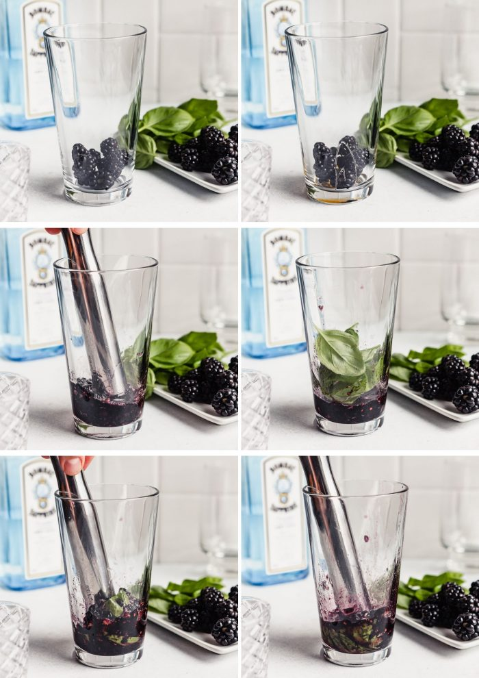 grid of images showing how to make a gin basil smash: adding blackberries and honey to glass, muddling the berries, adding basil, muddling the basil with the berries, adding gin, adding lemon juice
