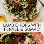lamb chop sliced into on a plate with fennel salad