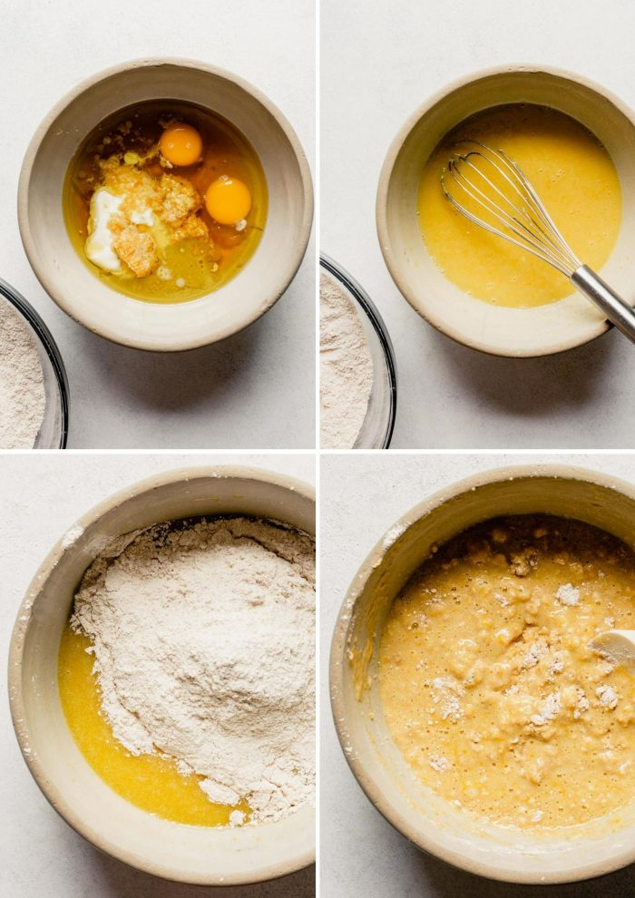 grid of images showing the steps to making lemon blueberry bread; mixing the wet ingredients, adding to dry ingredients