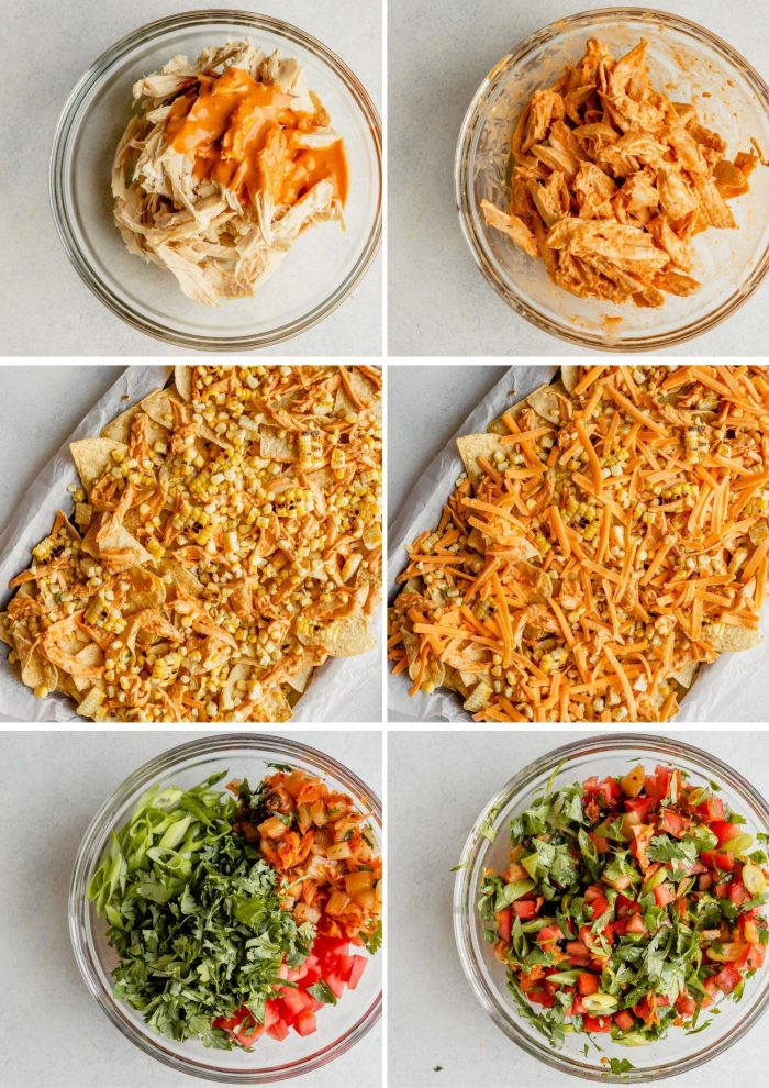 step-by-step grid showing how to make shredded chicken nachos—toss chicken with sauce, layer chips with chicken, cheese and corn, make the pico