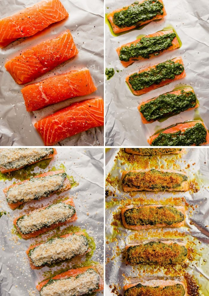 Grid of step-by-step images showing how to make pesto salmon. one, salmon fillets on a foil-line sheet, pesto spread over salmon, breadcrumbs layered over pesto, baked fillets