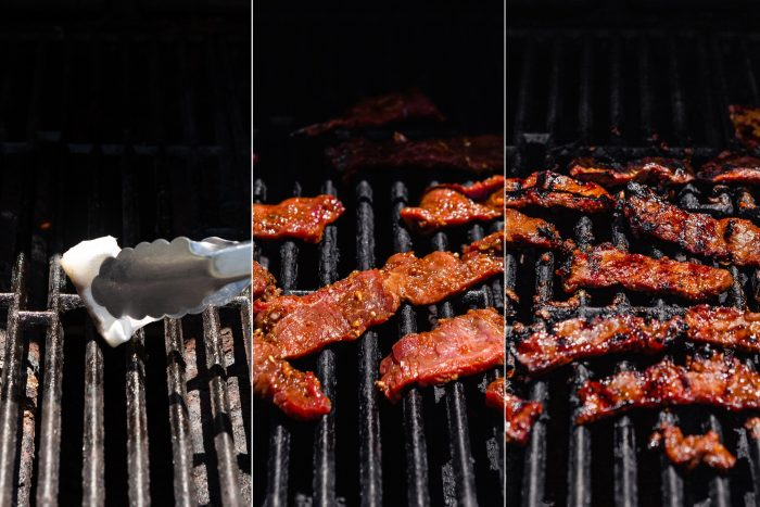 grid showing step-by-step images of grilling bulgogi