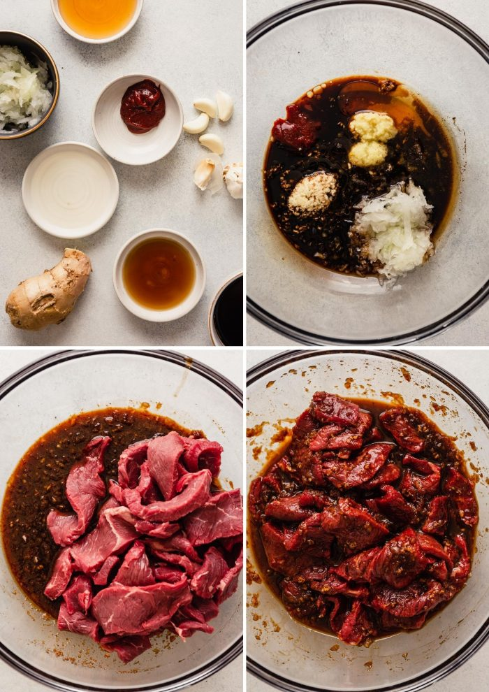grid of step images for the process of making a marinade for thinly sliced beef