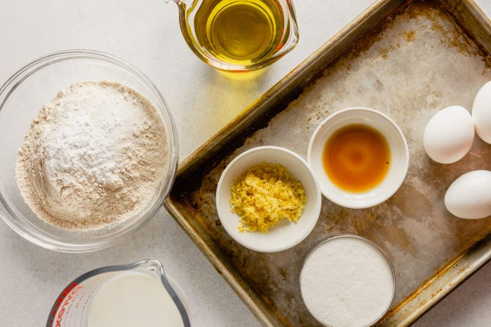 Overhead image of ingredients measured out and in small bowls